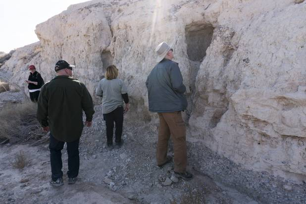 Visitors search for fossils and shells in sedimentary rock layers at Ice Age Fossils State ParkLas Vegas' newest state park where visitors can explore and learn about fossil beds located in the areaduring a ranger-guided hike through Monday, Jan. 1, 2018. With the park still in development, a visitor's center, interpretive trails and more infographic signs are expected to complete the park within two years.