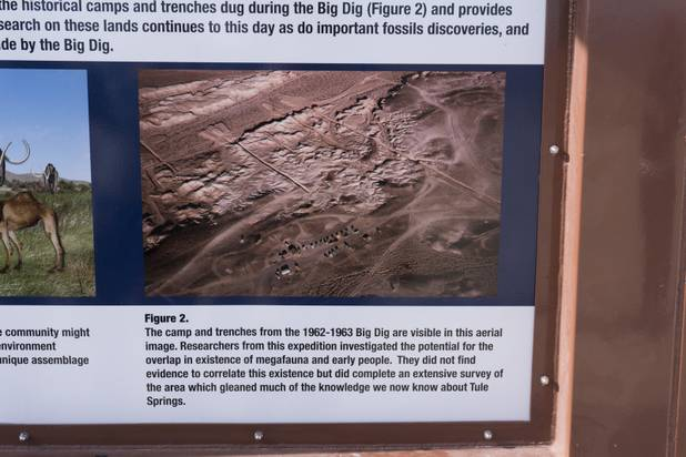 A sign shows an aerial view of Ice Age Fossils State ParkLas Vegas' newest state park where visitors can explore and learn about fossil beds located in the areaduring a ranger-guided hike, Monday, Jan. 1, 2018. With the park still in development, a visitor's center, interpretive trails and more infographic signs are expected to complete the park within two years.