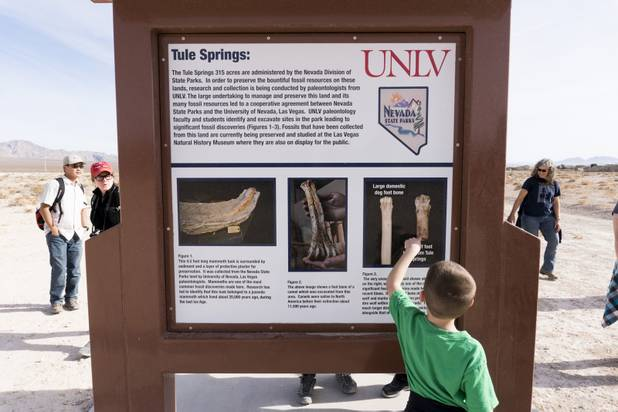 A boy points to an image of a Dire Wolf bone of which a 3D printed version was passed around earlier during a ranger-guided hike at Ice Age Fossils State ParkLas Vegas' newest state park where visitors can explore and learn about fossil beds located in the areaMonday, Jan. 1, 2018. With the park still in development, a visitor's center, interpretive trails and more infographic signs are expected to complete the park within two years.