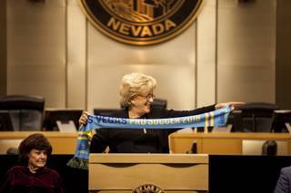 Las Vegas Mayor Carolyn Goodman holds up a Las Vegas Lights pro soccer team scarf while giving a shout out to Las Vegas Lights FC owner Brett Lashbrook during her 2018 State of the City address at City Hall downtown, Thursday, Jan. 11, 2018.