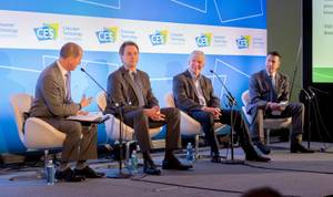 Gary Shapiro, from left, president /CEO of the Consumer Technology Association, moderates a panel discussion