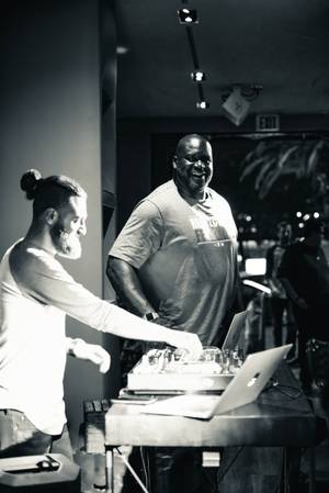 Shaquille O'Neal Performs DJ Set at Alexxa's Var