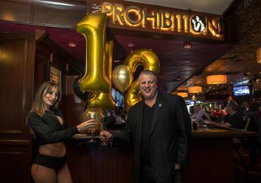 Owner Derek Stevens celebrates the Golden Gate Hotel & Casino's 112th year anniversary at the casino Saturday, Jan. 13, 2018.