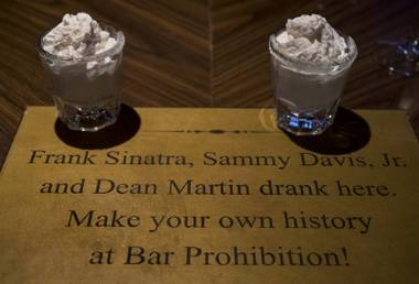 Birthday Cake shots are shown at the Prohibition Bar as the Golden Gate celebrates their 112th year anniversary on Saturday, Jan. 13, 2018.