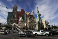 This Feb. 21, 2017 file photo shows the New York-New York on the Las Vegas Strip. Bandits have gotten away with cash and chips from four casino-hotels in Las Vegas since last week, leaving police on the hunt for multiple suspects.