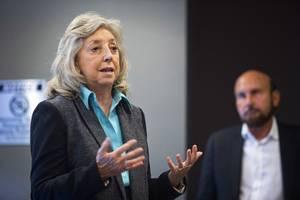 Congresswoman Dina Titus, D-Nev, speaks during a news conference at the Las Vegas ReLeaf marijuana dispensary at Paradise Road and Sahara Avenue Wednesday, Jan. 24, 2017. Titus criticized Nevada Attorney General Adam Laxalt for failing to support passage of the SAFE Banking Act. Ed Bernstein, a partner in the ReLeaf business, looks on at right.