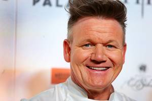 Celebrity chef Gordon Ramsay smiles on the red carpet during the grand opening of Gordon Ramsay Hell's Kitchen restaurant at Caesars Palace Las Vegas Friday, Jan. 26, 2018.