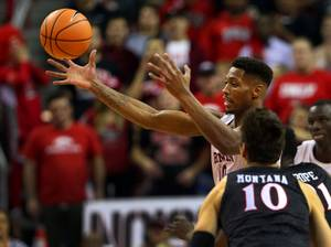 UNLV Rebels forward Shakur Juiston (10) grabs a loose ball ...