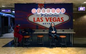 "A ""Welcome to Las Vegas"" sign backdrop, a popular selfie ..."