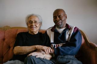 Norma McDuffie, 88, and her husband Frank McDuffie, 85, pose for a photo in their home, Wednesday, Jan. 17, 2018. The McDuffie's were selected by Rebuilding Together of Southern Nevada as part of a program which improves the safety and health standards of homes owned by low-income families.