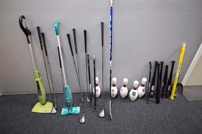 Implements of destruction are displayed at Wreck Room, 4090 Schiff Dr., Friday, Feb. 2, 2018.