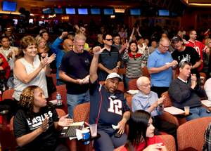 Fans flock to the South Point Hotel & Casino in Las Vegas for the big game. In this photo fans cheer for the Patriots during the big game in the South Point Sportsbook. Sunday, February 4, 2018. CREDIT: Glenn Pinkerton/Las Vegas News Bureau