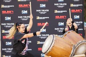 Two drummers perform during the Ultimate Sumo League debut announcement ...