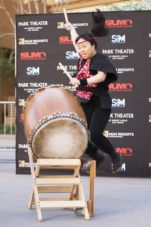 A drummer performs during the Ultimate Sumo League debut announcement ...