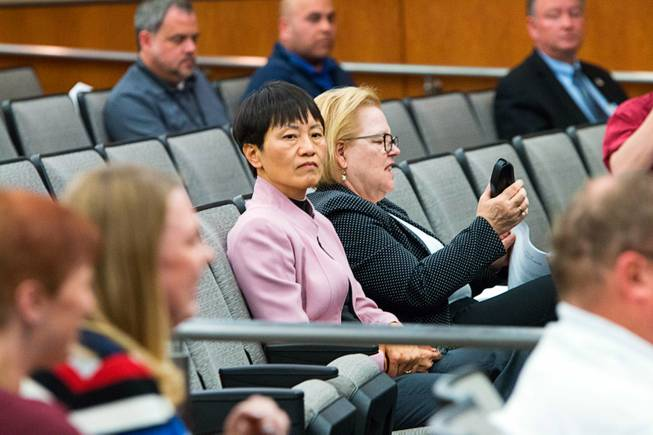 Former North Las Vegas City Manager Qiong Liu appears at a city council meeting Wednesday, Feb. 7, 2018.