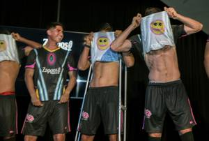Las Vegas Lights FC with primary jersey sponsor Zappos, unveil a unique jersey design for the team's home kits at the Zappos Theater on Wednesday, Feb. 7, 2018. The jersey has a secret smiley face on the interior only exposed when players pull the jersey over their heads, an action that traditionally follows a goal.