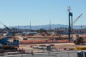 Construction is in full swing at the site for the future Las Vegas Raiders' Stadium, Thursday Feb 8, 2018.
