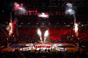 Pyrotechnics explode during a pregame show before a UNLV game ...