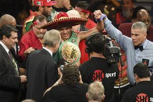 David Benavidez celebrates his victory over Ronald Gavril after their WBC super middleweight championship fight Saturday, February 17, 2018, at the Mandalay Bay Events Center in Las Vegas. Benavidez won a 12-round unanimous decision to retain the title.
