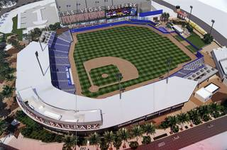 An artist's rendering is displayed during a groundbreaking ceremony for Las Vegas Ballpark, a 10,000-fan capacity baseball stadium and future home of the Las Vegas 51s, in Summerlin Friday, Feb. 23, 2018.