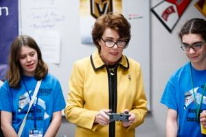 Congresswoman Jacky Rosen (NV-03) concentrates while controlling a robot during a meeting with Greenspun Junior High School teachers and students from the schools three winning robotics teams, Friday, Feb. 23, 2018. The VEX IQ Robotics teams recently won the State Championship Tournament and have been invited to represent Nevada in the 2018 VEX Robotics Worlds Competition this April in Louisville, Kentucky.