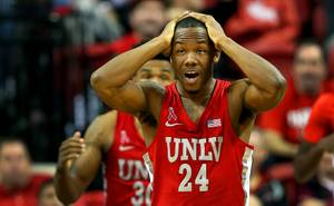 UNLV guard Jordan Johnson (24) reacts after being called for a foul during a game against the UNR Wolfpack at the Thomas & Mack Center Wednesday, Feb. 28, 2018.