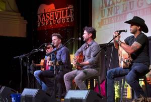 From left, singer-songwriters Phillip White, Aaron Benward, Travis Howard, and Coffey Anderson perform during Nashville Unplugged in the Rhythm & Riffs lounge at Mandalay Bay Friday, March 2, 2018.