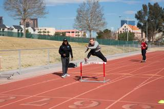 UNLV Women's Track & Field athlete Stella Clemens trains on hurdles Thursday March 1, 2018.