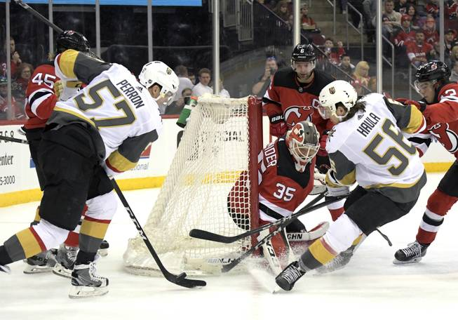 Fleury stops 33 shots as Knights edge Devils, halt skid