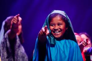 Students from J.T. McWilliams Elementary perform a scene from Disney's Aladdin during the Musicals in Schools event at The Smith Center, Monday, Mar. 5, 2018. Under Disney Musicals in Schools, The Smith Center helps elementary schools across Southern Nevada develop their own sustainable musical theater programs and put on their inaugural productions of a Disney musical.