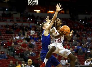 UNLV Rebels guard Jordan Johnson (24) lays up the ball during a game against Air Force in the 2018 Mountain West Men's Basketball Championship at the Thomas & Mack Center Wednesday, March 7, 2018.