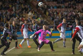 Las Vegas Lights FC goalkeeper Angel Alvarez made his professional soccer debut on Feb. 13 in a preseason game against the Vancouver Whitecaps.