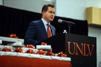 UNLV President Len Jessup speaks at a stethoscope ceremony by UNLV School of Medicine for its inaugural class of medical students at the Student Union on July 17, 2017.