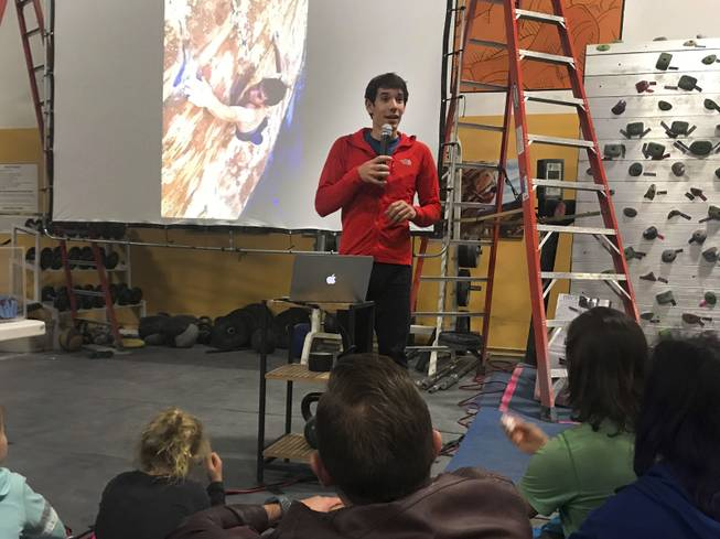 Elite professional rock climber Alex Honnold gives a talk titled Alone on El Capitan about his experience in becoming the first to solo climbwithout the use of ropesYosemite National Park's El Capitan at The Refuge Climbing Center, Thursday, March 16, 2018.