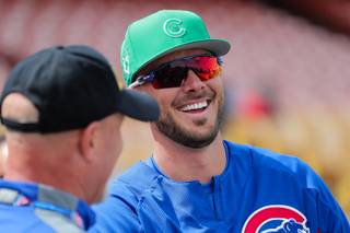 Cubs infielder Kris Bryant (17) chats with fans prior to the Chicago Cubs vs Cleveland Indians game at Cashman Field, Saturday, Mar. 17, 2018. Chicago went on to defeat Cleveland 11-4.