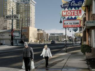 Motels on the west side of downtown Reno, Nev., March 6, 2018. Reno is among several Western cities experiencing congestion and new tensions as California residents and businesses seek more affordable locations.
