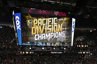 A view of the jumbotron as the Vegas Golden Knights defeat the San Jose Sharks at T-Mobile Arena, Saturday, March 31, 2018, in Las Vegas.
