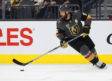 Vegas Golden Knights defenseman Deryk Engelland (5) plays against the St. Louis Blues during an NHL hockey game, Friday, March 30, 2018, in Las Vegas.