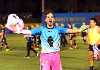 Las Vegas Lights goalkeeper Ricardo Ferrino reacts after  the Lights beat the Swope Park Rangers of Kansas City at Cashman Field Saturday, March 31, 2018. The Lights won the game 2-1.