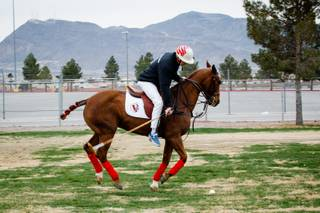 President of Polo America, Randy Russell, demonstrates his swing during a media event to promote the Las Vegas Polo Classicthe first outdoor grass polo game to be played in Las Vegasheld by Polo America at Star Nursery Field, Wednesday, March 7, 2018. The Las Vegas Polo Classic will take place April 14 & 15.