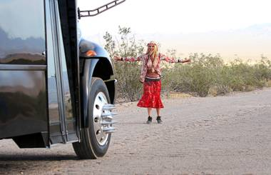 "Tara Reid appears in a scene from ""Party Bus to Hell,"" an indie horror movie filmed in Las Vegas and the Valley of Fire."