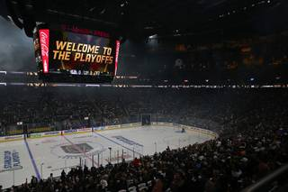 A sold-out crowd wait for the start of Game 1 of an NHL hockey first-round play-off series with the Vegas Golden Knights against the Los Angeles Kings in T-Mobile Arena Wednesday, April 11, 2018.