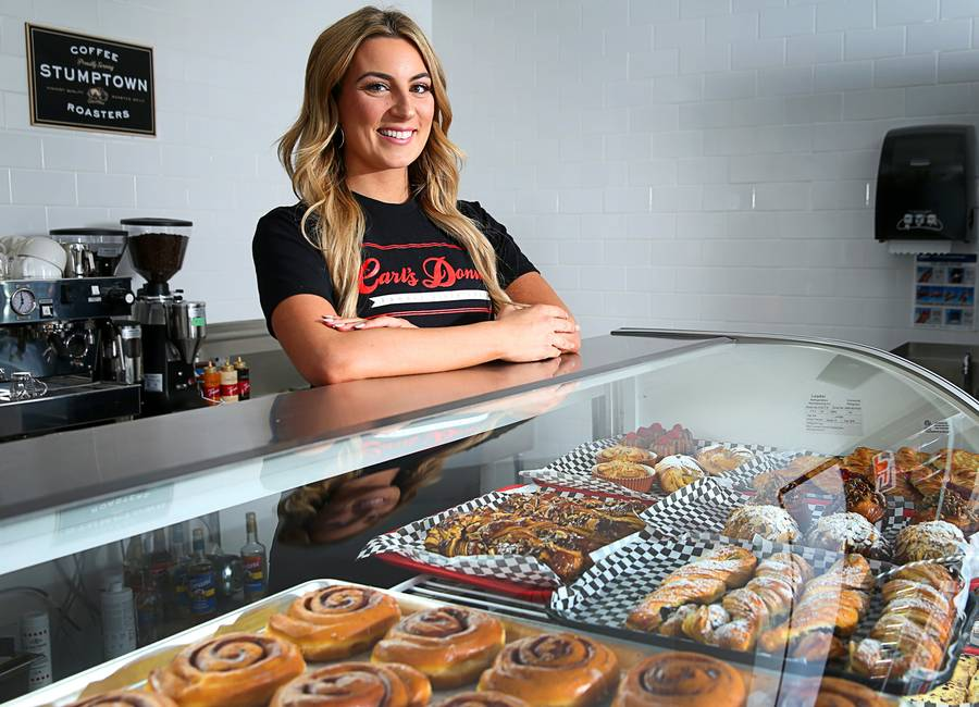 Amber Ramsay, COO of Carl's Donuts, poses with an assortment of donuts and pastries at Carl's Donuts, 3170 E. Sunset Rd., Tuesday, April 17, 2018. The wholesale donut maker, in business in Las Vegas since 1966, is opening its first retail store in 20 years.