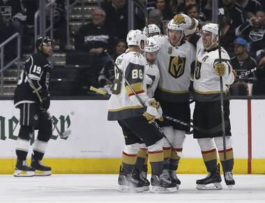 Golden Knights fans invaded Los Angeles Tuesday night, armed with brooms. They celebrated outside Staples Center well into the night after the Golden Knights completed a four-game sweep of the Kings to advance to the second round of the Stanley Cup Playoffs...