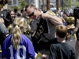 Fans come out for a good luck send-off for the Vegas Golden Knights at City National Arena as they head to Los Angeles for games three and four of the series. Saturday, April 14, 2018.