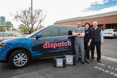 Physician assistant Joe Hamilton, left, Community Engagement Director BJ Wright, center, and Marketing Director Bill Butcher are part of the team at DispatchHealth.