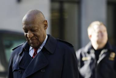 Bill Cosby arrives during jury deliberations in his sexual assault retrial, Thursday, April 26, 2018, at the Montgomery County Courthouse in Norristown, Pa.