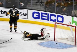 Vegas Golden Knights Golden Knights goaltender Marc-Andre Fleury (29) lies on the ice after San Jose Sharks scored in double overtime to beat the Golden Knights in Game 2 of an NHL hockey second-round playoff series at T-Mobile Arena Saturday, April 28, 2018.