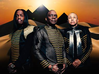 From left, Verdine White, Philip Bailey and Ralph Johnson lead Earth, Wind & Fire to the Venetian this week.