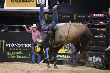 "Silvano Alves gets tossed off After Midnight during the Professional Bull Rider's ""Last Man Standing"" event Saturday, May 5, 2018, at the Thomas & Mack Center in Las Vegas. CREDIT: Sam Morris/Las Vegas News Bureau"